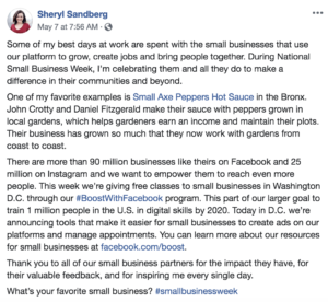 Sheryl Sandberg cites Small Axe Peppers as one of her favorite small businesses